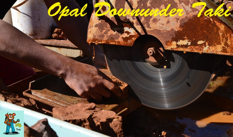 ボルダーオパール原石 ソーイングの様子